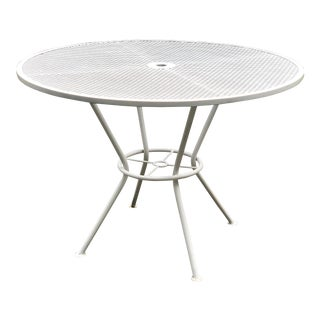 Mid Century Modern Wrought Iron Patio Dining Table in White For Sale