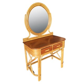 Post War Rattan & Mahogany Vanity With Round Mirror For Sale