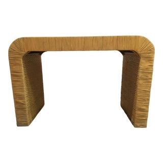 Minimalist Coastal-Style Rattan Console Table For Sale