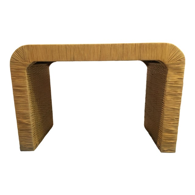 Minimalist Coastal-Style Rattan Console Table For Sale