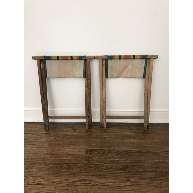 Green Vintage Striped Folding Canvas Camp Stools - A Pair For Sale - Image 8 of 8