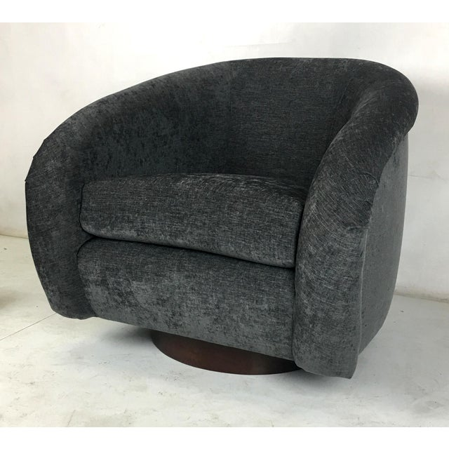 Milo Baughman Roll Arm Swivel Lounge Chairs - a Pair For Sale In San Francisco - Image 6 of 10