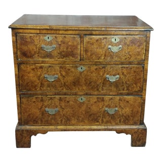 18th Century Georgian Burl Walnut Chest of Drawers For Sale