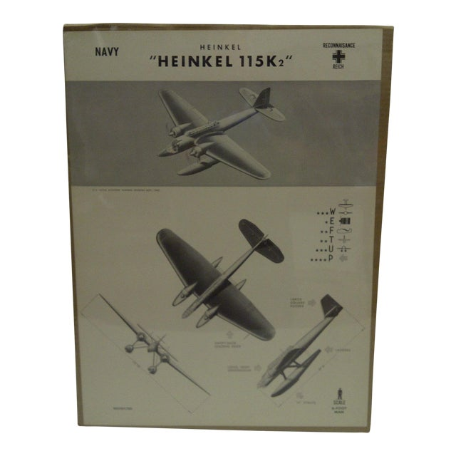 WWII Heinkel 115 K2 Aircraft Recognition Poster For Sale