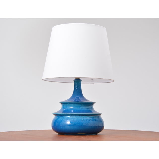 Rare 1960s Turquoise Glazed Danish Vintage Table Lamp by Nils Kähler For Sale - Image 6 of 6