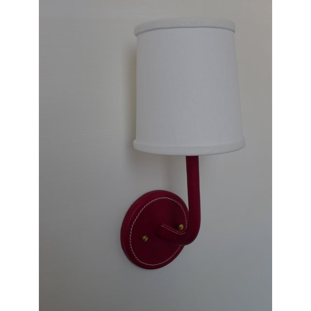 Metal Paul Marra Top-Stitched Leather Wrapped Sconce in Red For Sale - Image 7 of 7