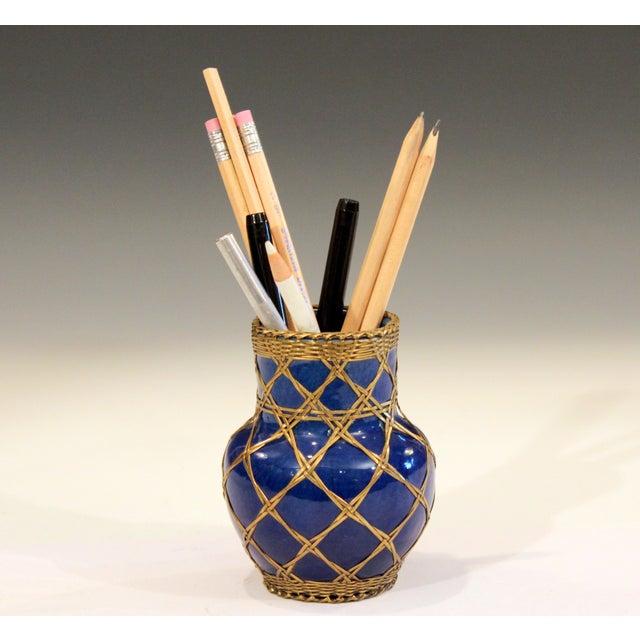 Arts & Crafts Antique Awaji Pottery Japanese Arts & Crafts Cup Brush Pot Jar Bronze Weave For Sale - Image 3 of 12