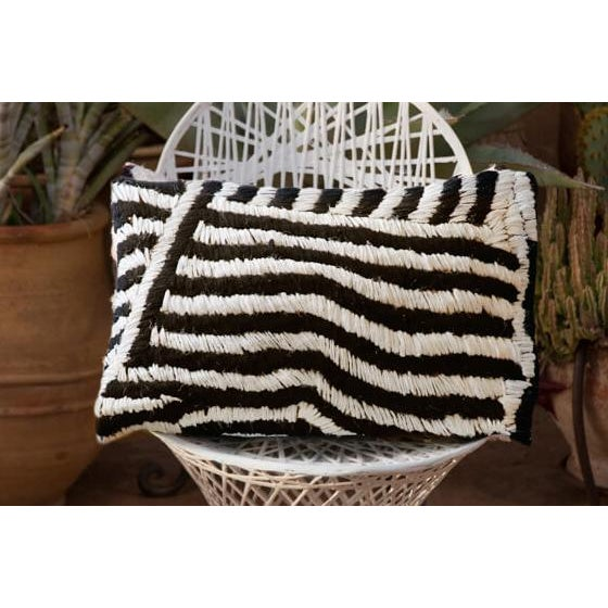 Berber Tribes of Morocco Moroccan Flat-Weave Boucherouite Lumbar Pillow in Black and White - 18 For Sale - Image 4 of 4