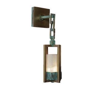 Lanterne Aged Brass Wall Lamp by Christine Rouviere For Sale
