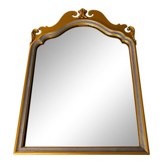 Mid-Century Traditional Style Silvered Giltwood Wall Mirror For Sale