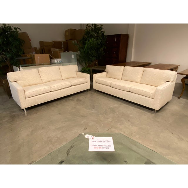 Custom Designed Nubby Cotton Three Seater Sofas - a Pair For Sale - Image 9 of 9