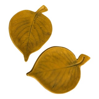 Yellow Pottery Leaf Plates - A Pair For Sale