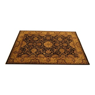 Vintage Black & Gold Wool Rug - 6' X 9'