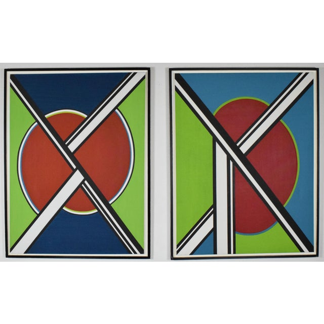 Mid-Century Modern early 20th Century Mondrian Style Geometric Acrylic Painting For Sale - Image 3 of 8