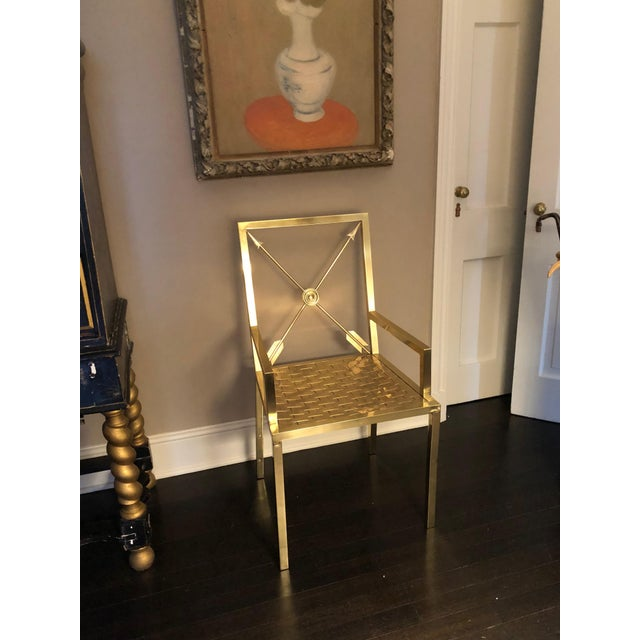 Mastercraft Glimmering Show Stealer Heavy Brass Neoclassical Armchairs by Mastercraft For Sale - Image 4 of 12