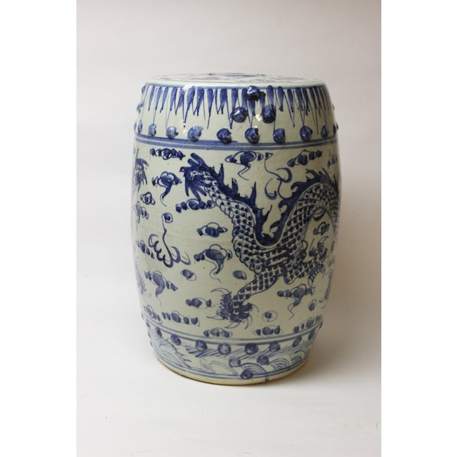 Chinese blue and white ceramic garden seat.