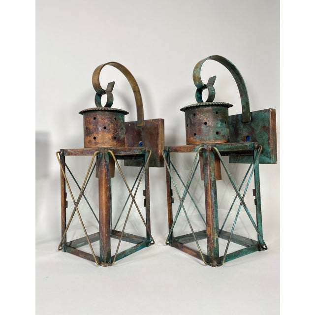 Solid Copper Custom-Made Outdoor Wall Lanterns by Genie House, Set of 4 For Sale - Image 10 of 13