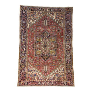 Large Vintage Persian Hareez Wool Rug - 7′9″ × 11′5″ For Sale