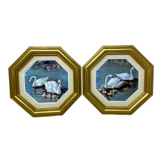 Vintage Gold Octagon Frame of White Swan & Babies in the Water Prints – a Pair For Sale