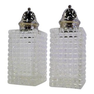 Early 1900s English Brilliant Cut Crystal Sugar Shaker and Muffineer - a Pair For Sale
