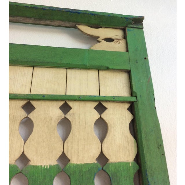Green & Ivory Indonesian Wood Panels - A Pair - Image 5 of 6