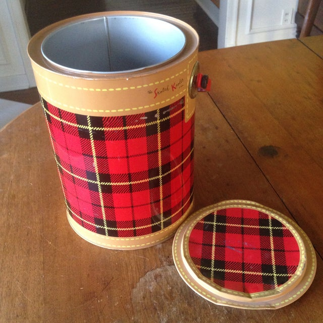 Mid Century Metal Plaid Cooler/Ice Bucket - Image 8 of 11