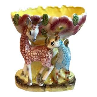 Vintage Japanese Figural Vase With Deer For Sale