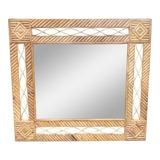 1950s Vintage Hollywood Regency Bamboo Mirror For Sale