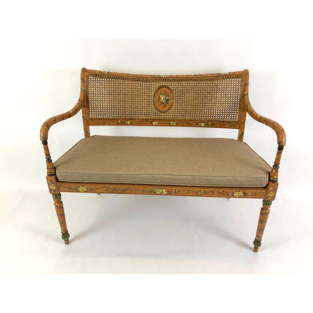Venetian Style Caned and Hand Painted Loveseat Settee For Sale - Image 13 of 13