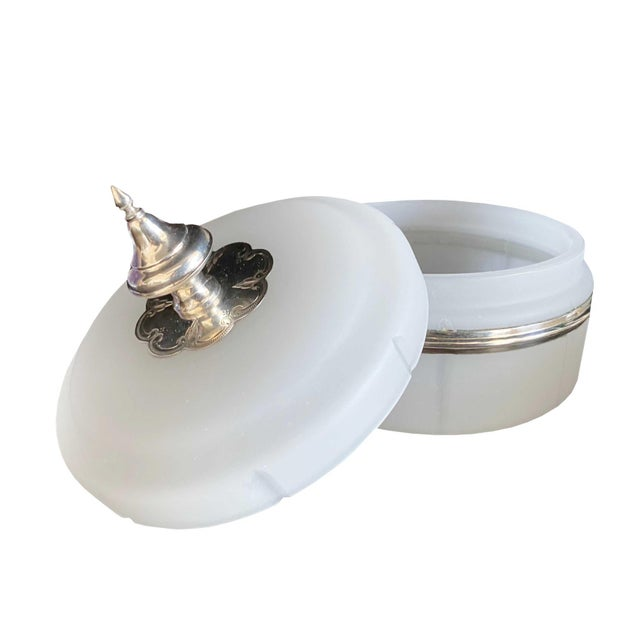 Antique Opaline Box With Silver Finial For Sale - Image 4 of 10