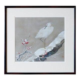 Japanese Showa Period Egret Painting by Miyata Yodo For Sale
