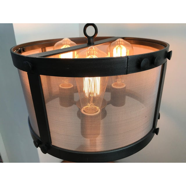 Restoration Hardware Restoration Hardware Riveted Mesh Accent Lamps - A Pair For Sale - Image 4 of 7