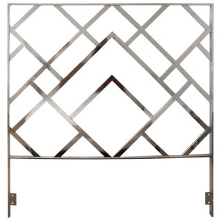 Chrome Mid-Century Modern Queen Size Headboard Style of Milo Baughman