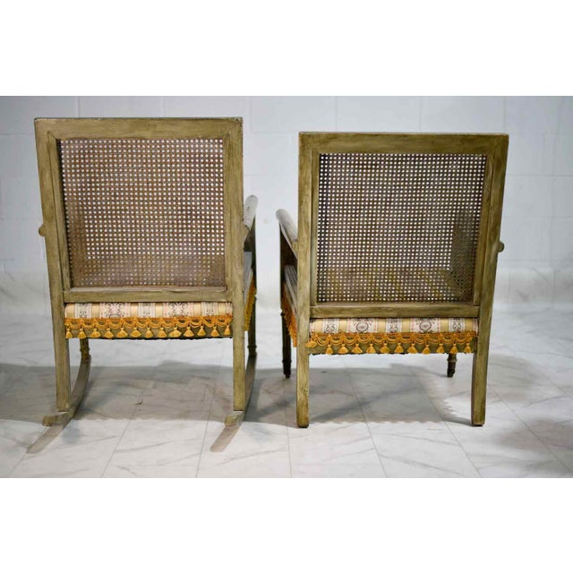 Mid-Century Cane-Back Tassel Fringe Rocking and Arm Chairs - a Pair For Sale - Image 9 of 11