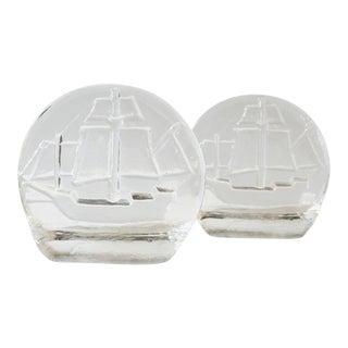 Set of 2 Vintage Blenko Glass Ship Bookends Mid Century