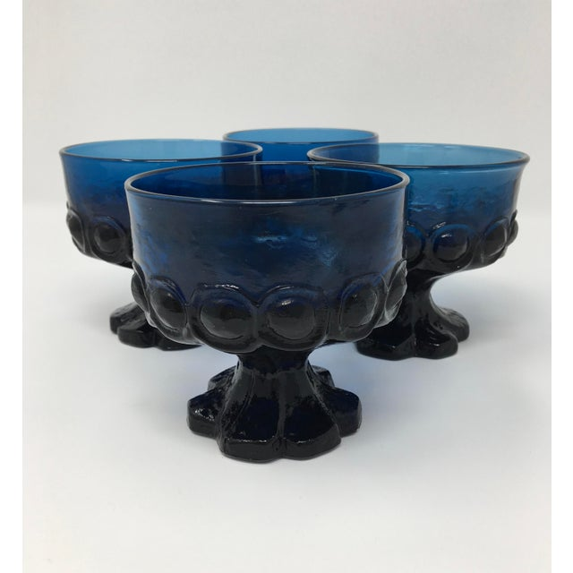 Blue Midcentury Modern Scandinavian Blue Dessert & Berry Bowls For Sale - Image 8 of 9