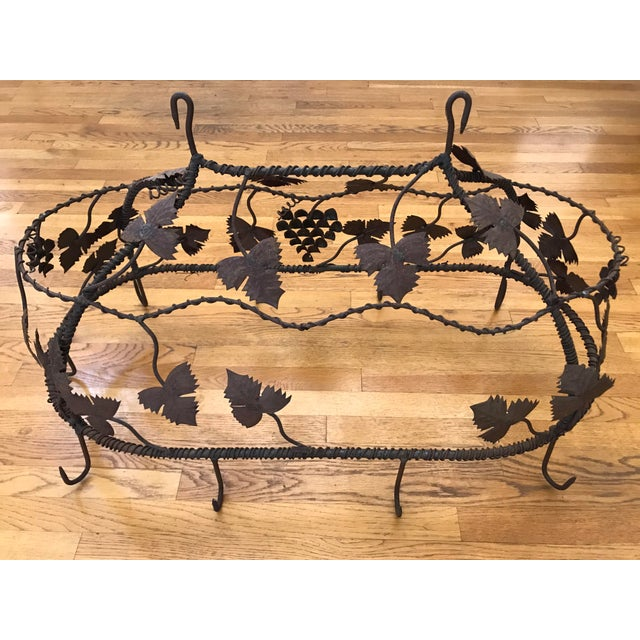 Metal 1970s Custom Crafted Enchanting Wrought Iron Grape Vine Pot Rack For Sale - Image 7 of 13