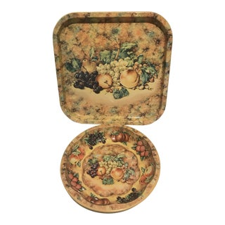 Daher Enamel Fruit Motif Tray and Plate - a Pair For Sale