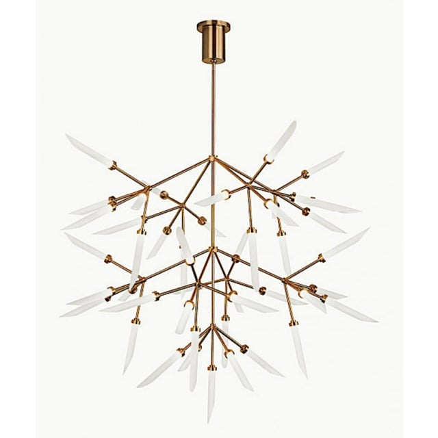 2010s Mid-Century Moder Style Brass and Frosted Glass Sculptural Chandelier For Sale - Image 5 of 5