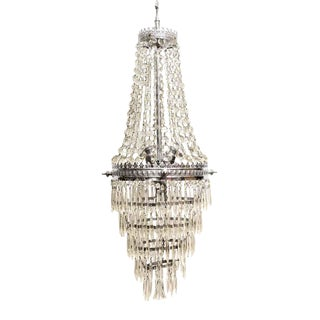 Restored French Traditional Tiered Crystal Chandelier For Sale