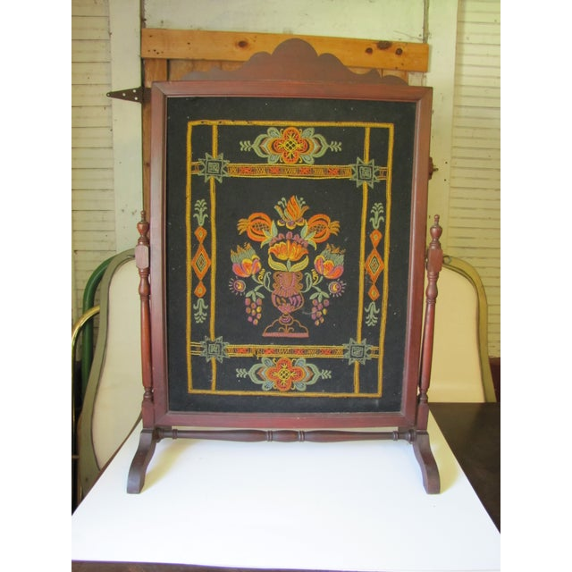 Wood 1910s Victorian Embroidered Fire Screen For Sale - Image 7 of 7