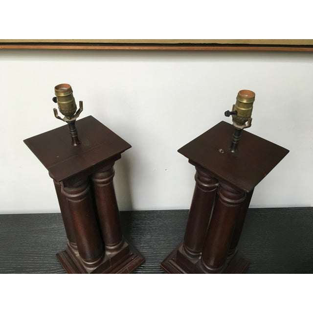 Brown Early 20th Century Antique Wooden Architectural Table Lamps - a Pair For Sale - Image 8 of 9