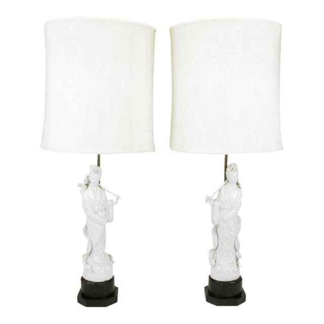 Pair Blanc De Chine Female Figure Table Lamps For Sale