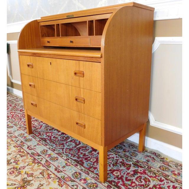 Egon Ostergaard Scandinavian Teak Cylinder Desk For Sale - Image 4 of 9