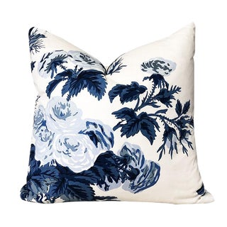 Chinoiserie Blue and White Floral Schumacher Pyne Hollyhock Square Down Filled Pillow For Sale