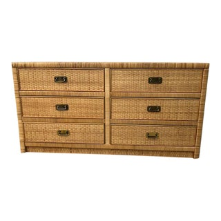 1970s Vintage Dixie Rattan Dresser For Sale