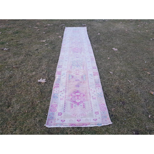 Hand-Knotted Turkish Runner Rug. Tribal Extra Long Runner. Low Pile Herki Rug 31'' x 160'' / 78x406cm Vintage Turkish...