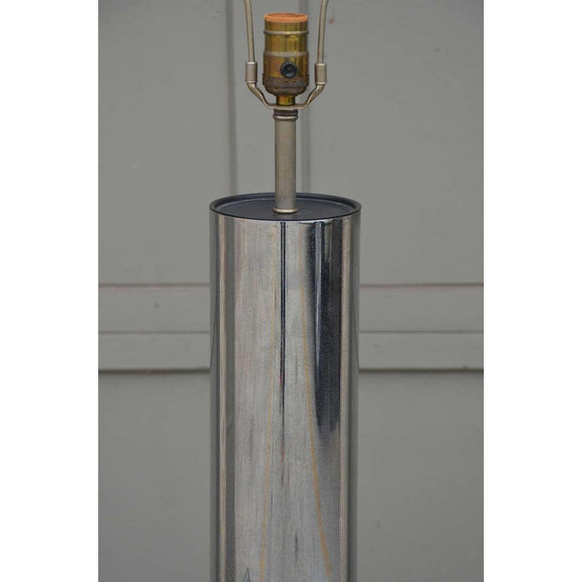 This listing features a minimalistic chrome cylinder table lamp by George Kovacs. New custom white fabric shade....