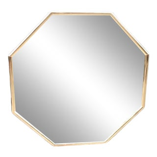 1980s Gold Octagon Painted Flower Wall Mirror