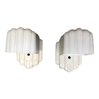 Art Deco Style Ceramic Wall Sconces - a Pair For Sale